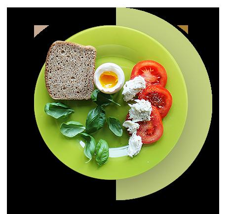 Posiłek dietetyczny na zielonym talerzu 5